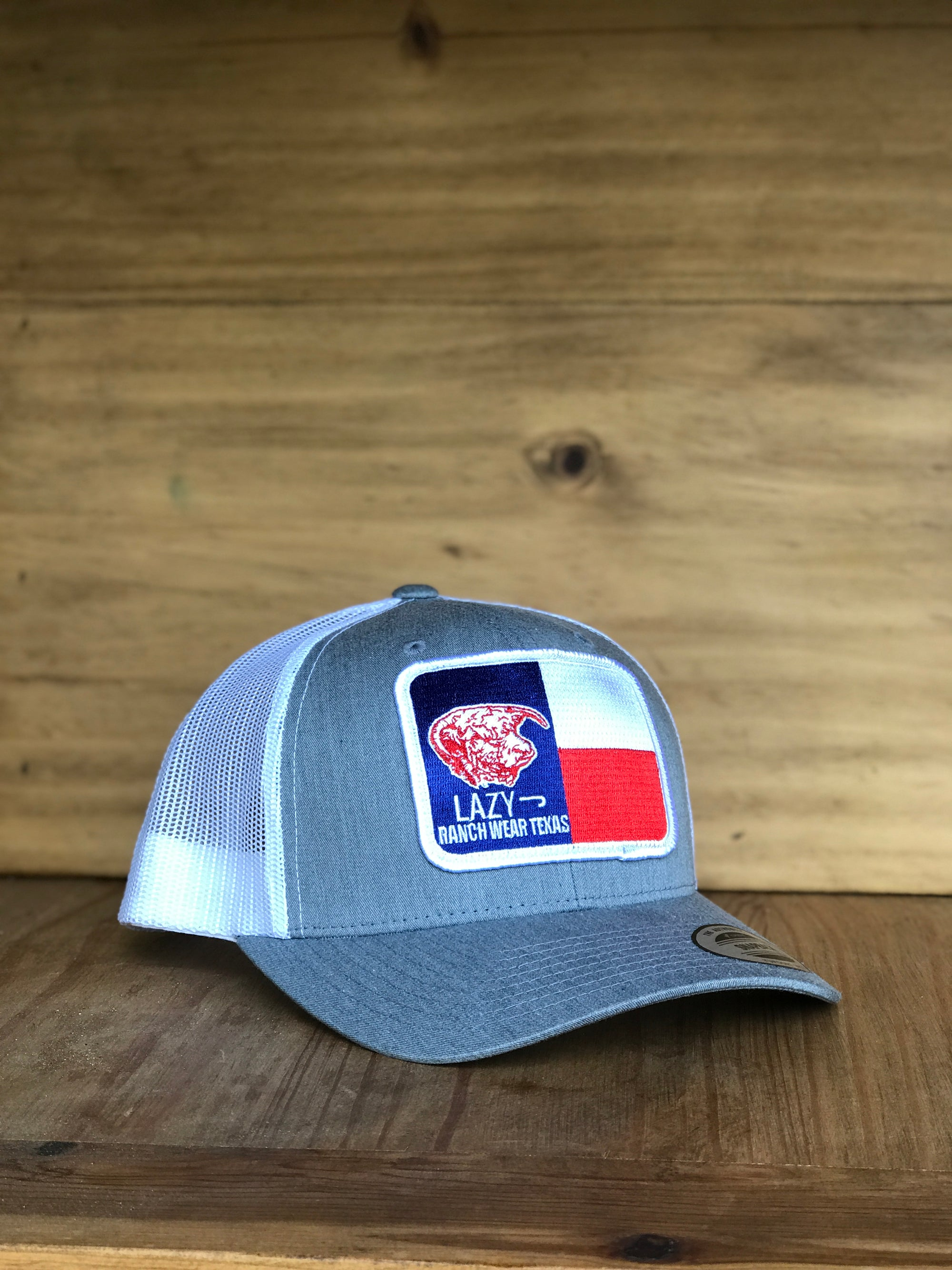 "Lazy J Ranch Wear Heather Grey & White 3.5"" Texas Flag Elevation"