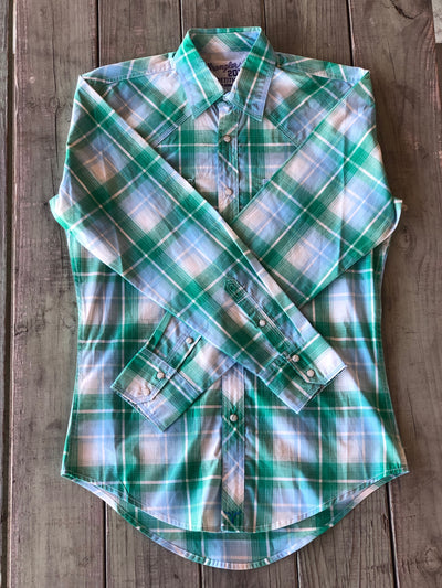 Wrangler Western 20X Competition Advanced Comfort Shirt Green and White