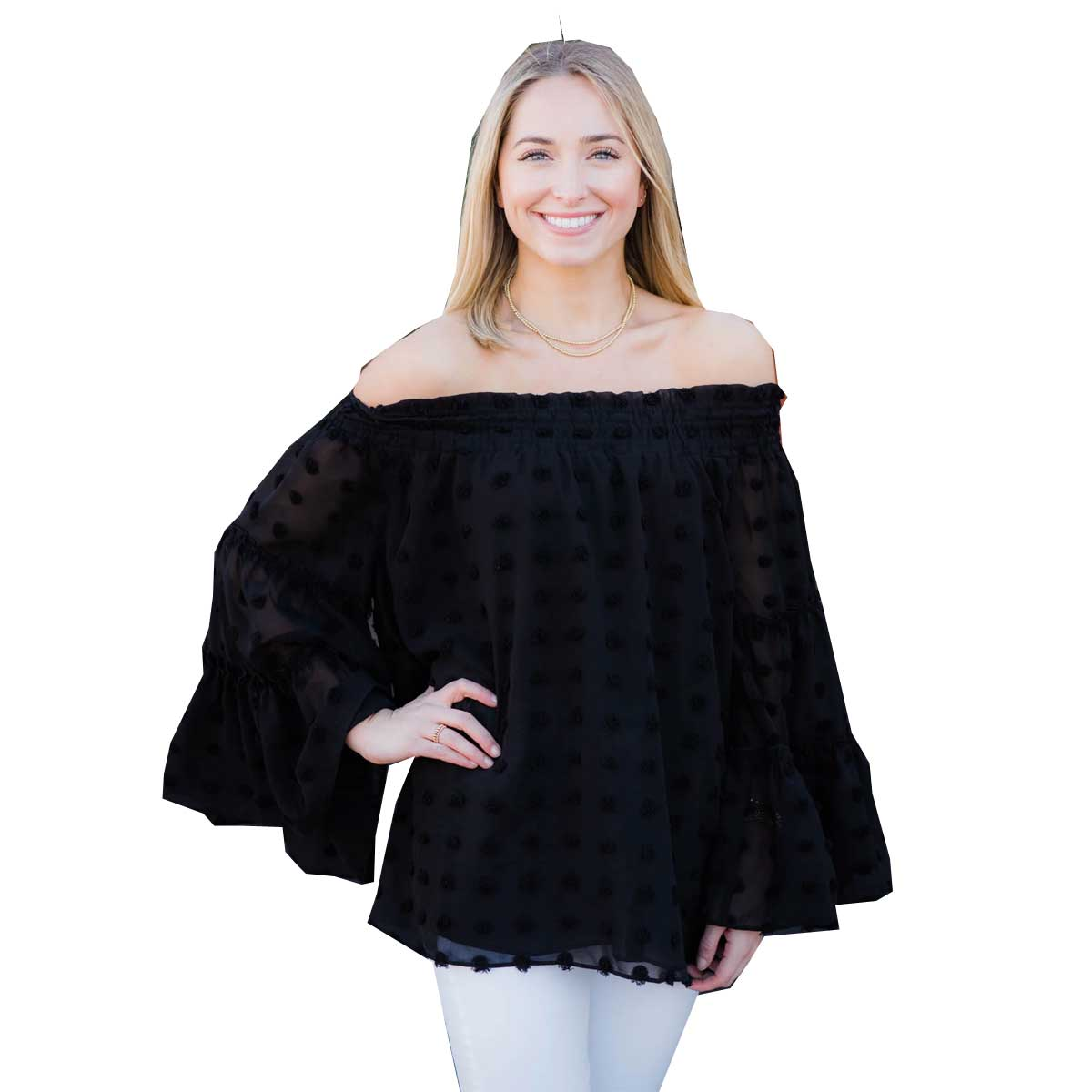 Ivy Jane Smocked Neck Blouse - Black