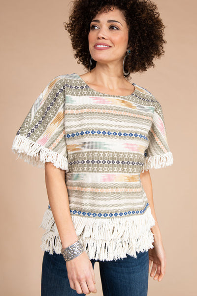 Ivy Jane Jacquard Short Sleeve Top With Fringe