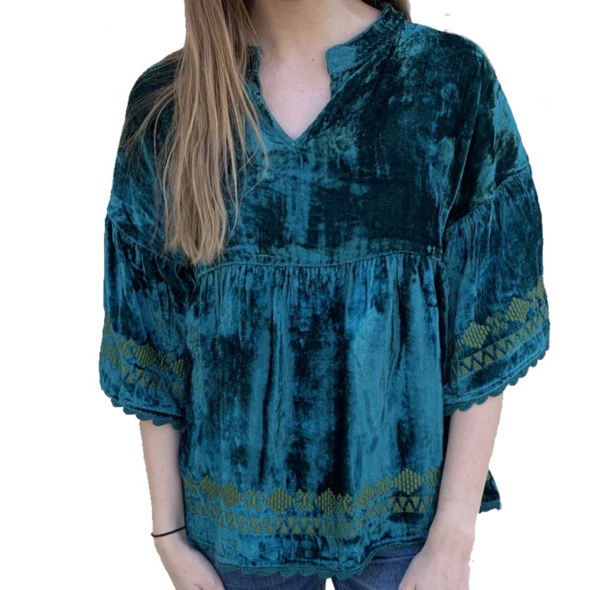 Ivy Jane Velma Popover Bordered Velvet Top - Teal