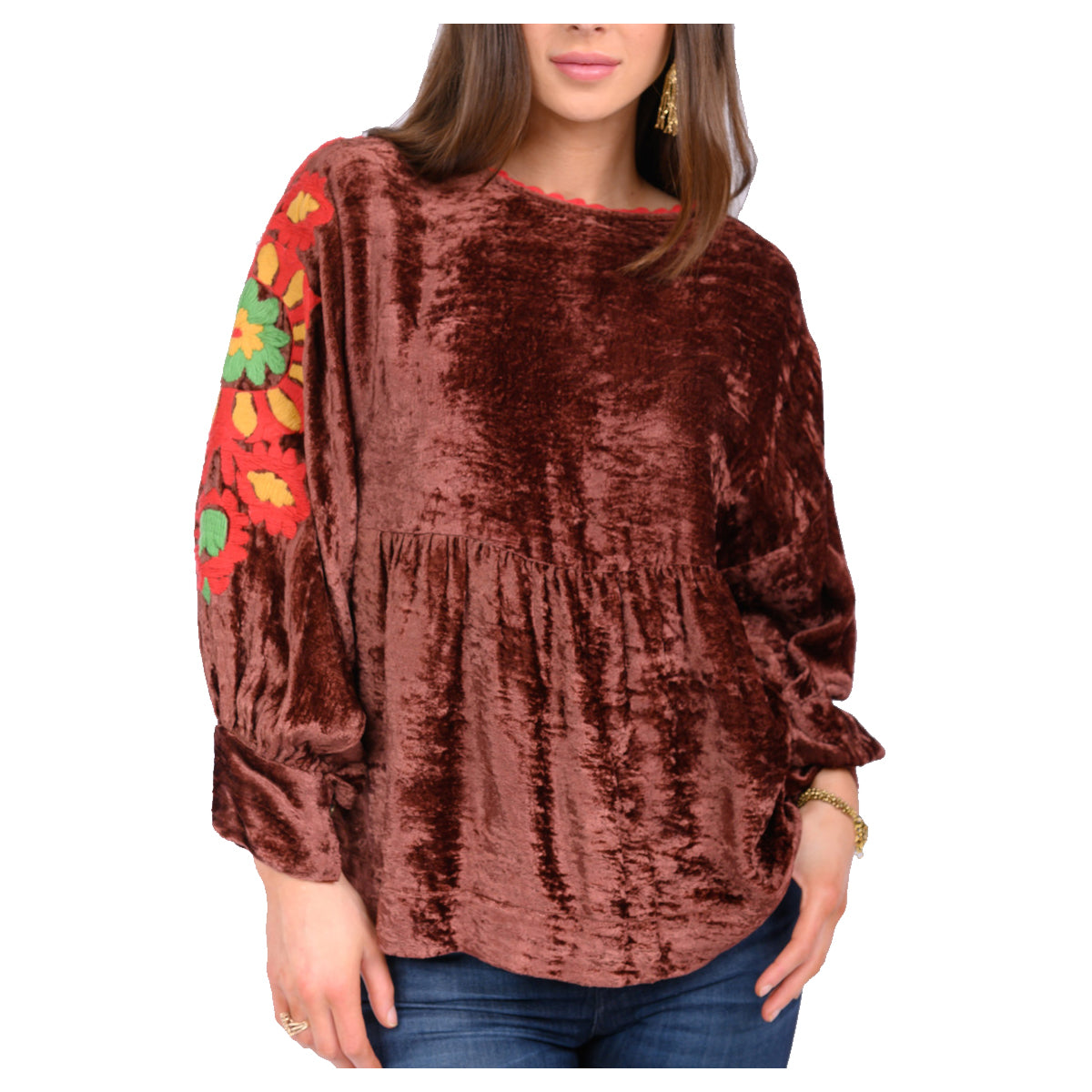 Ivy Jane Velvet Medallion Sleeve Embroidered Top - Rust
