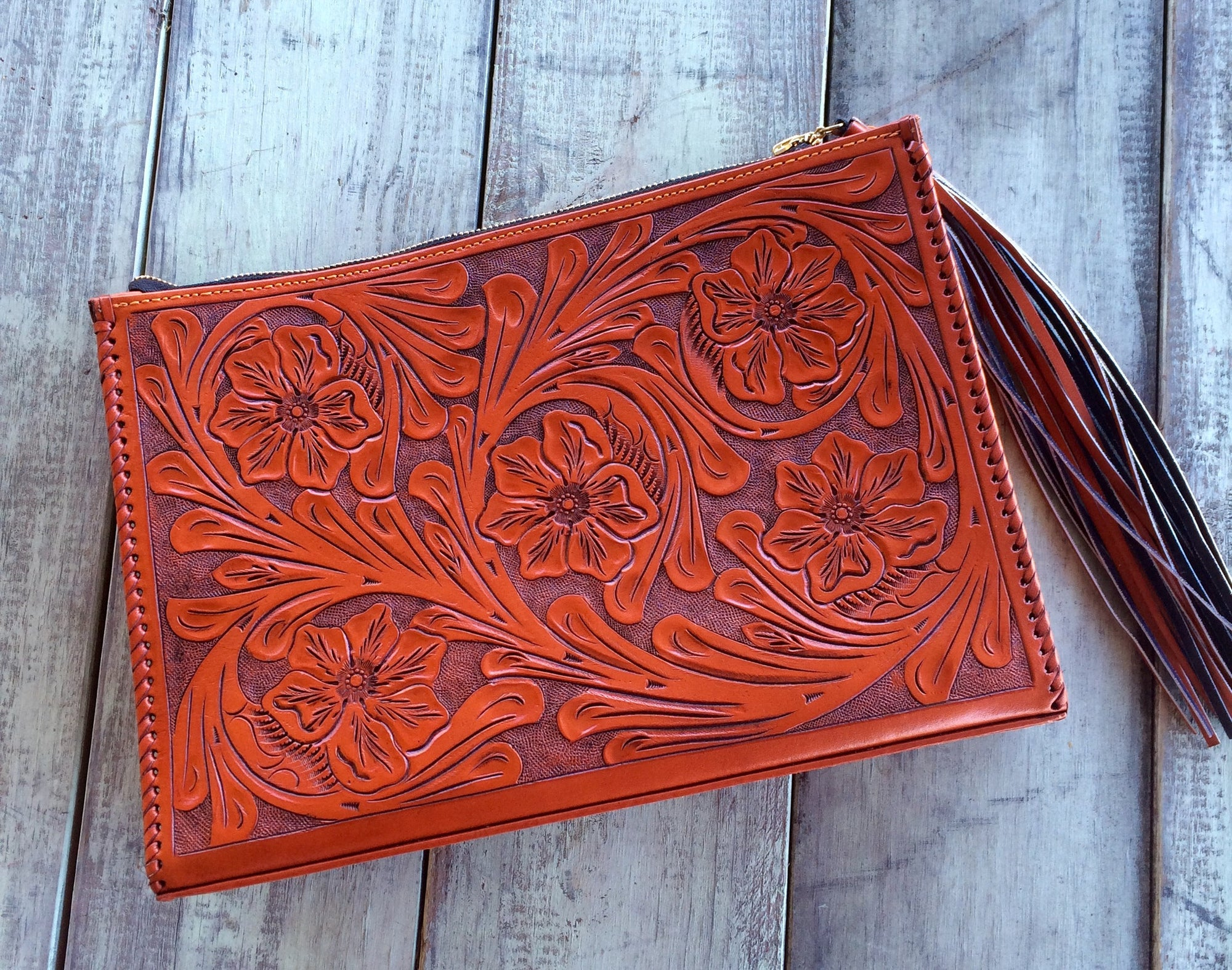 Rust Hand Tooled Envelope