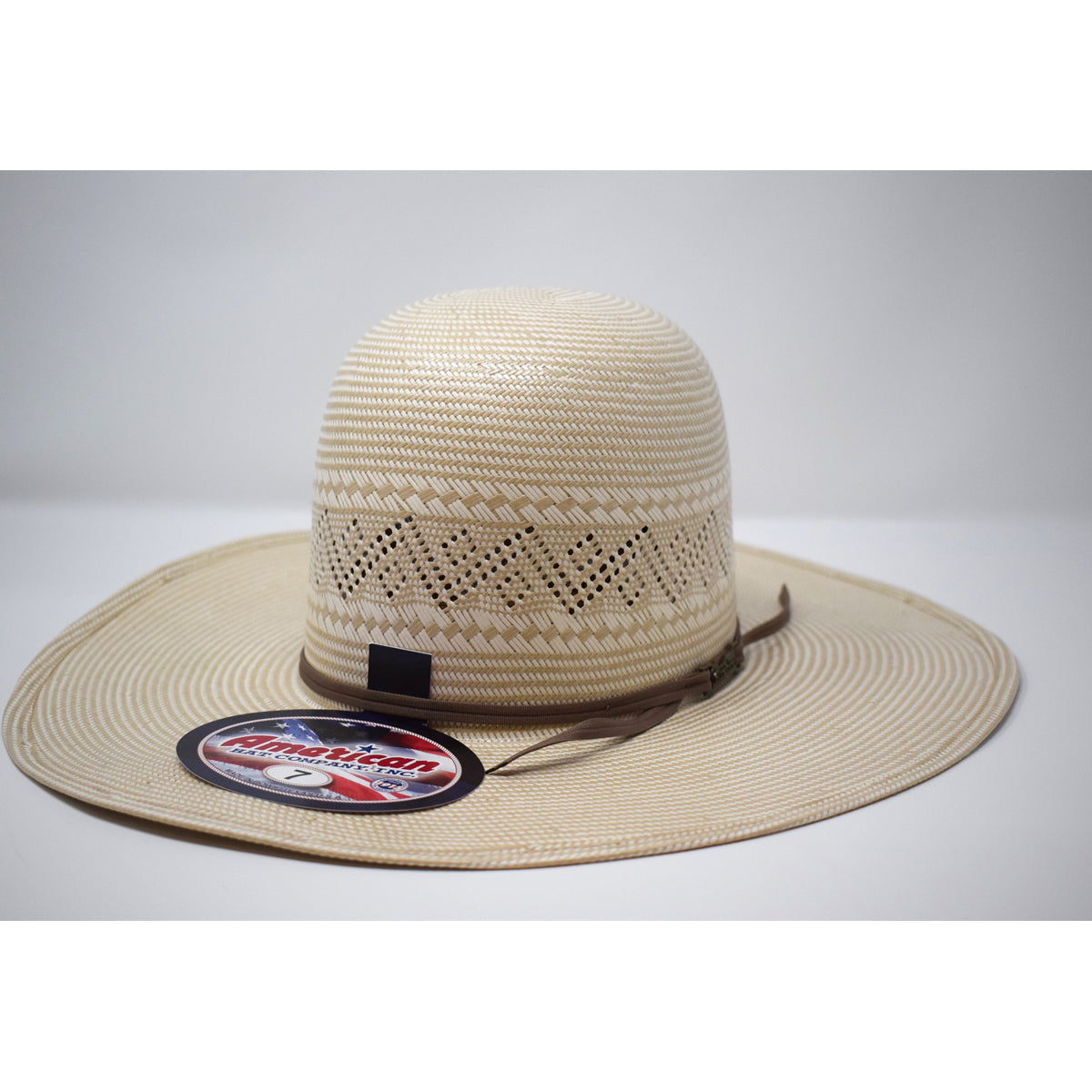"American Hat Co. 4 1/4"" Brim Light Brown Ribbon Western Straw Hat"