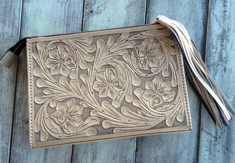 Beige Hand Tooled Envelope