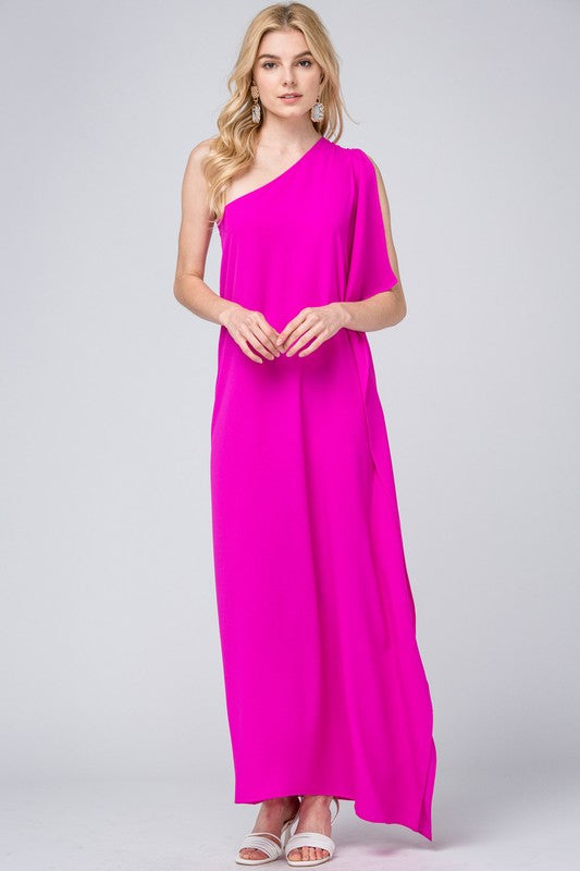 Perfect Hot Pink One Shoulder Maxi Dress