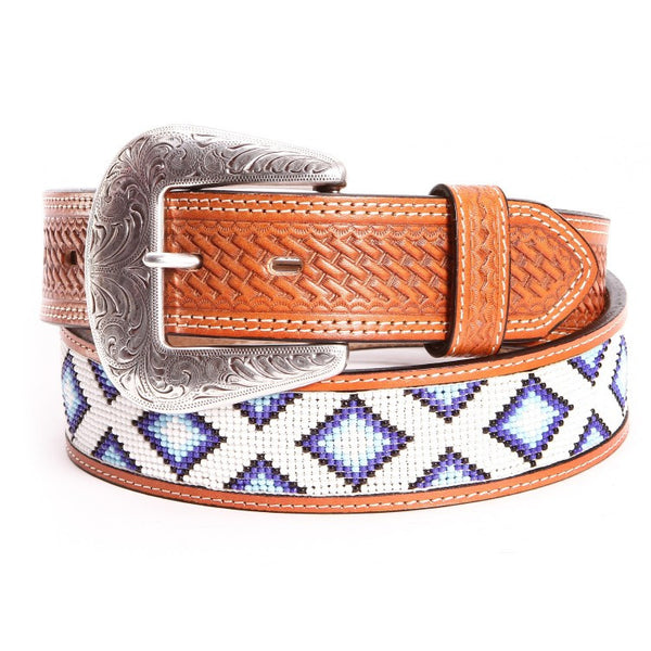 Diamond Hand Beaded Belt by Cowboy Chrome