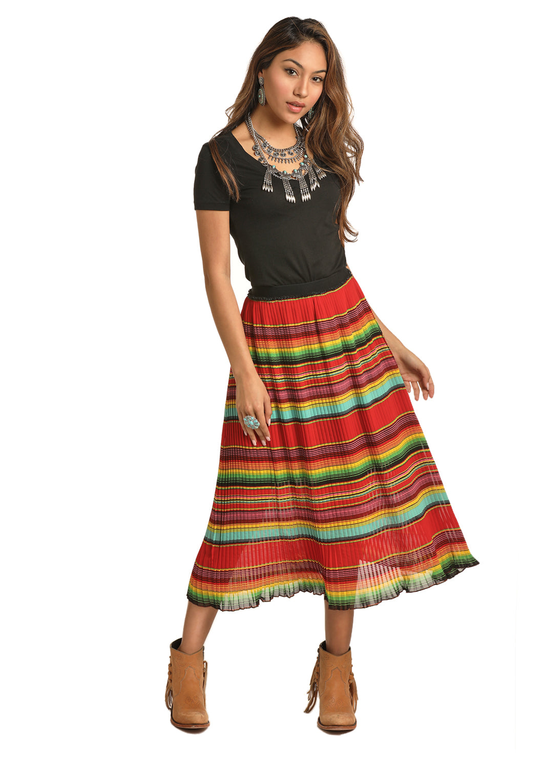 Rock N Roll Cowgirl Pleated Stripe Women's Skirt