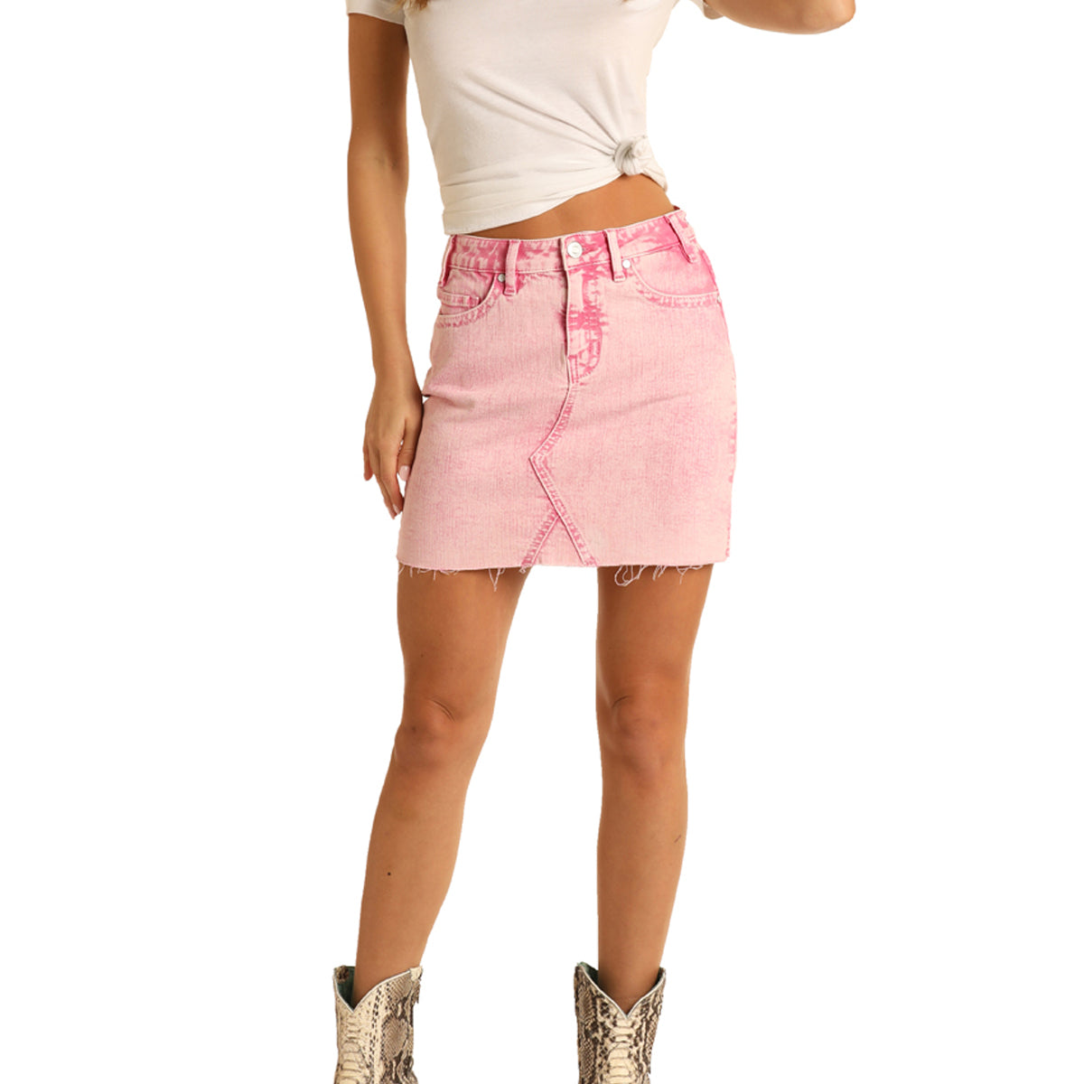 Rock & Roll Cowgirl Women's Acid Washed Denim Mini Skirt - Pink
