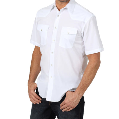 Wrangler Men's Western Snap Sport Short Sleeve Shirt - Solid White