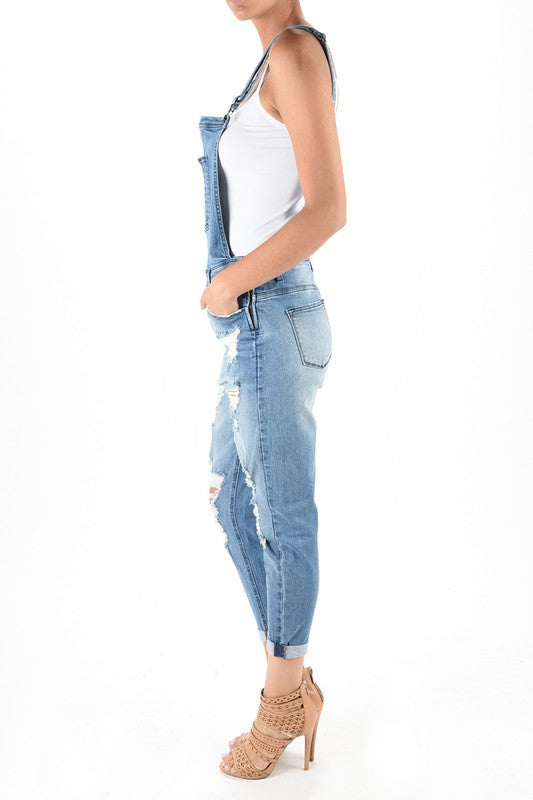 Women's Distressed Denim Overall