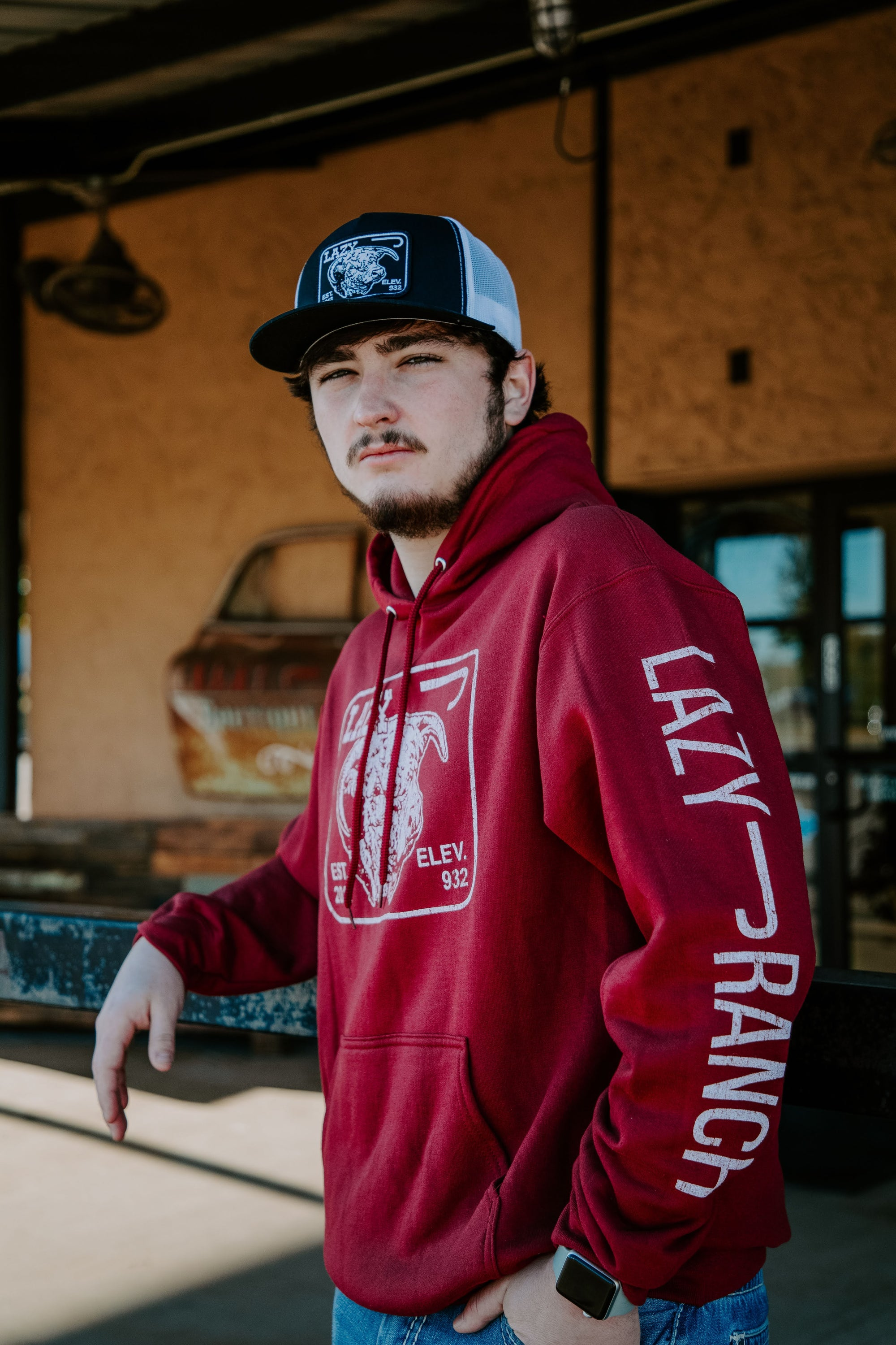 Lazy J Ranch Wear Cardinal Maroon Elevation Hoodie