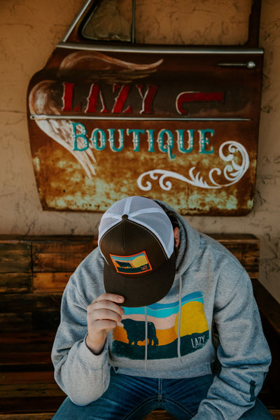 Lazy J Ranch Wear Heather Grey Sky Patch Hoodie