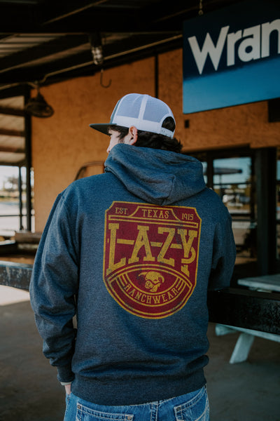 Lazy J Ranch Wear Charcoal Grey Word Plate Hoodie