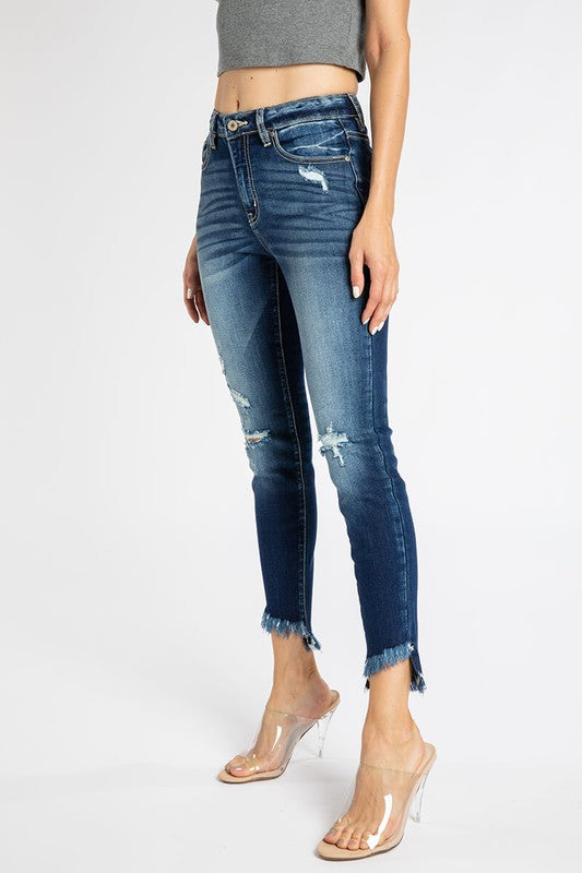 Kan Can High Rise Distressed Skinny Jean
