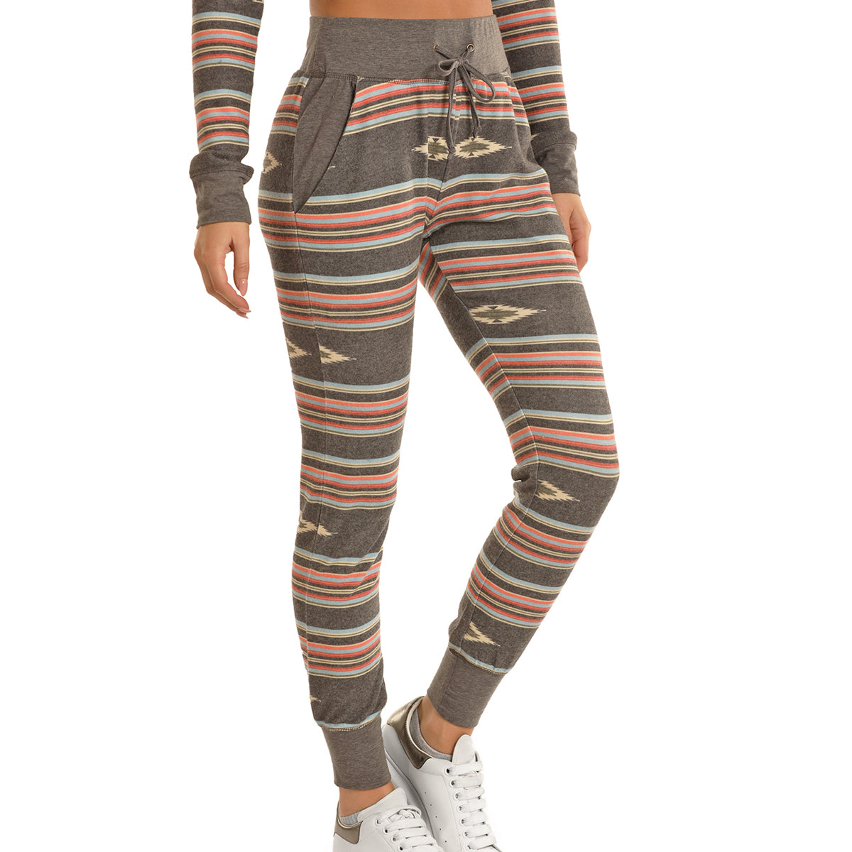 Rock & Roll Cowgirl Junior's Joggers - Aztec Print Grey