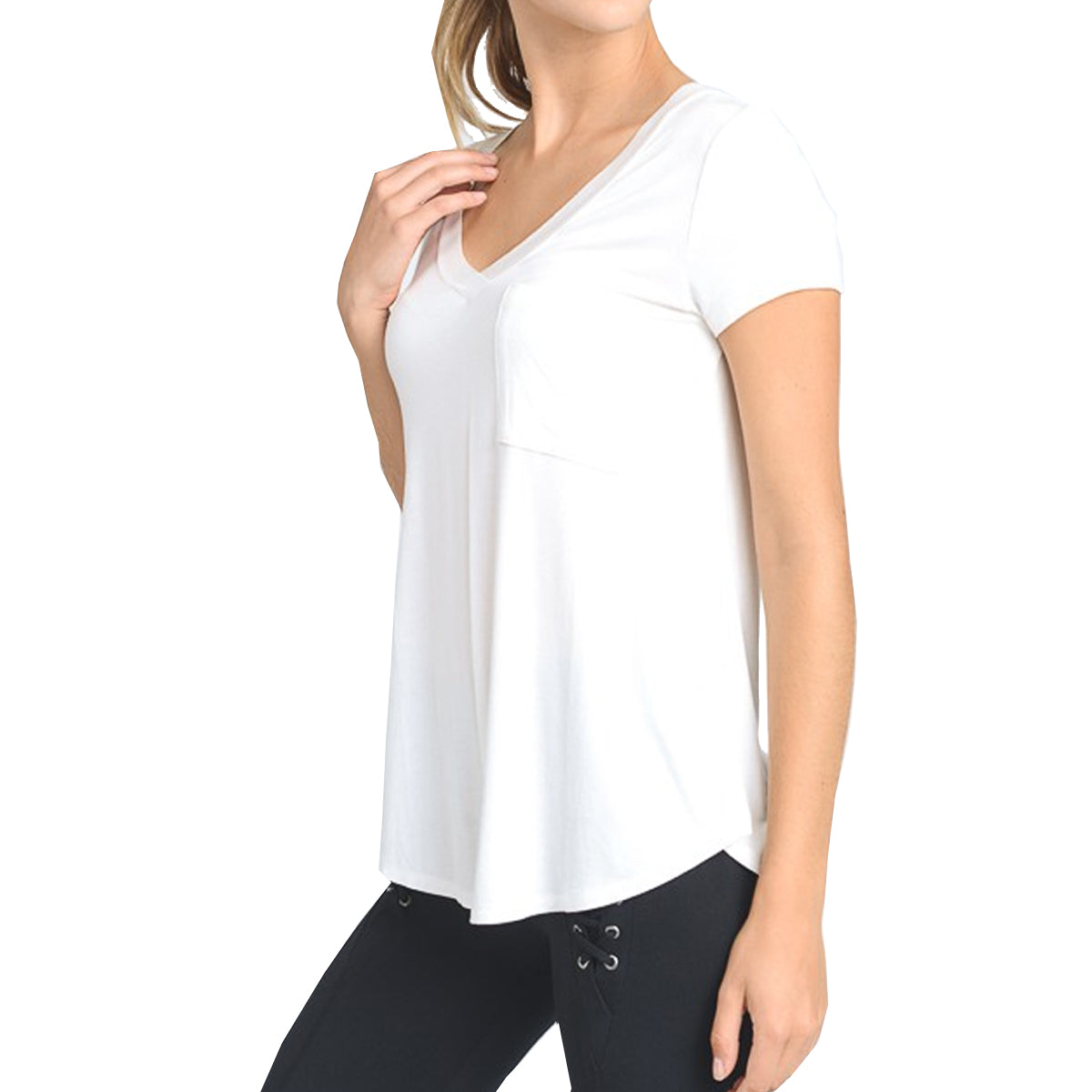 Mono B Women's Longline Deep V-Neck Pocket Shirt  - White