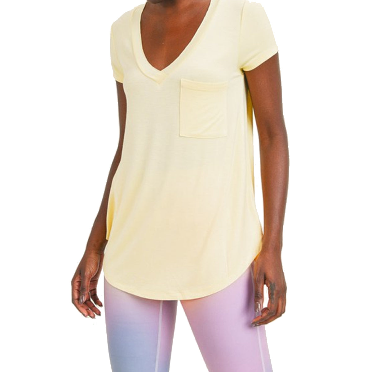 Mono B Women's Longline Deep V-Neck Pocket Shirt - Lemonade