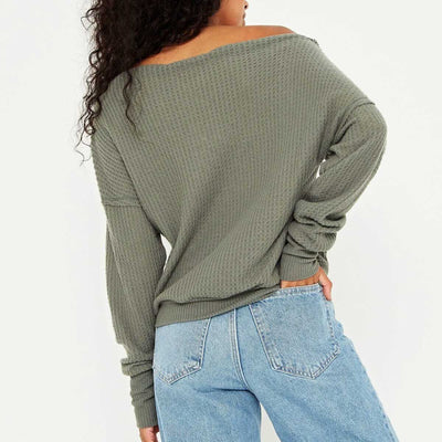 Project Social T Stepping Out Cozy Long Sleeve Top - Sage Brush