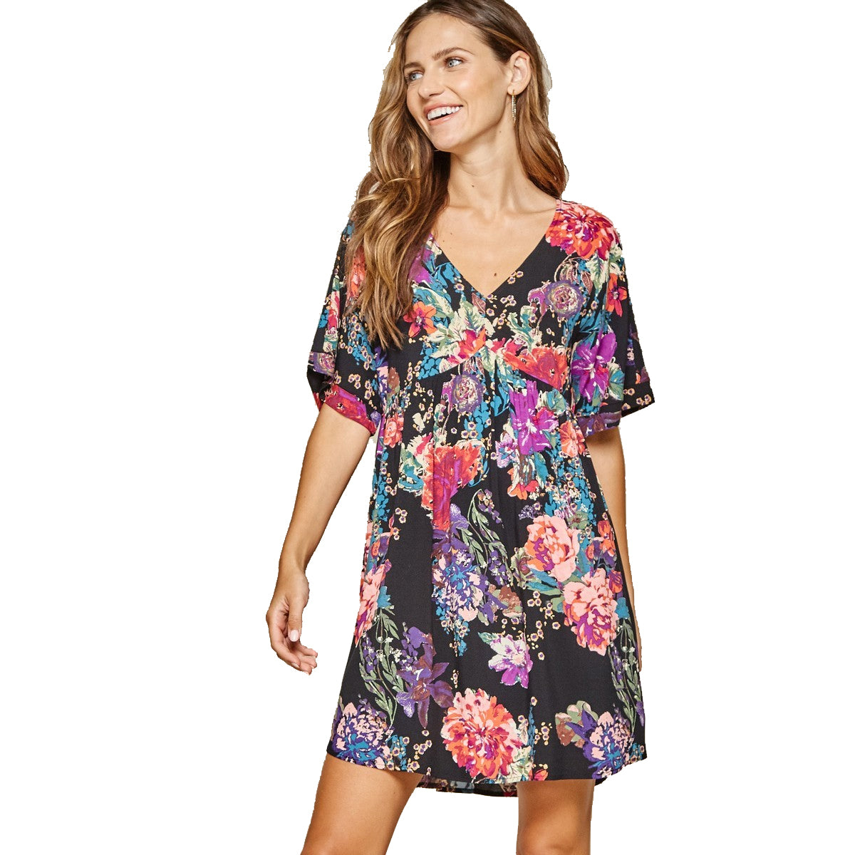 Andree by Unit Women's Floral Print Short Sleeve Dress - Black