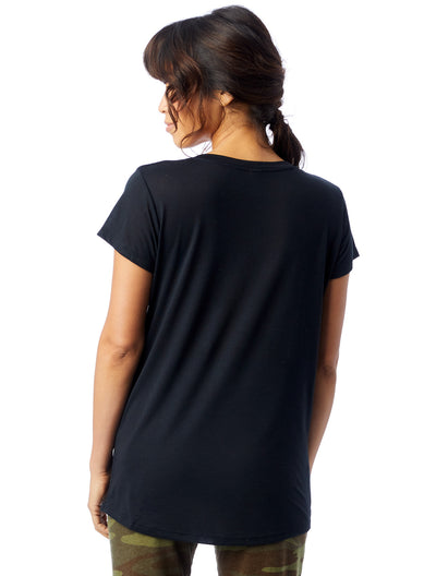 Black Basic Slinky V-Neck T-Shirt