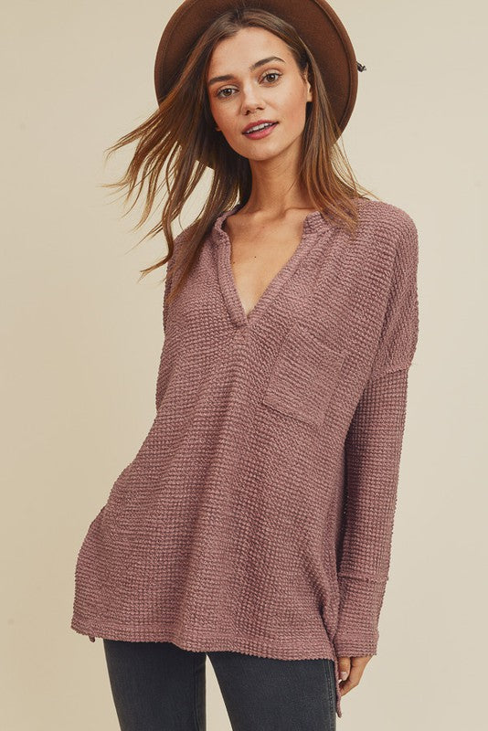 In Loom Waffle V-Neck Mauve Women's Sweater