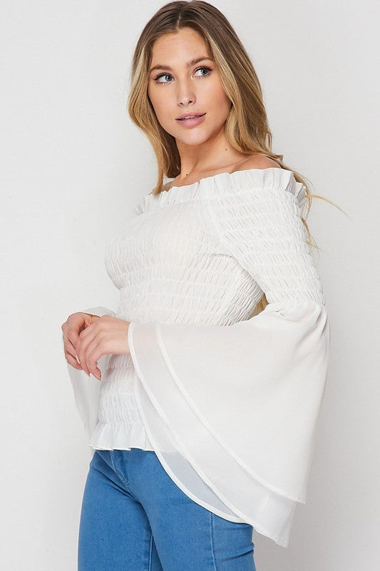 White Off The Shoulder Scrunch Top