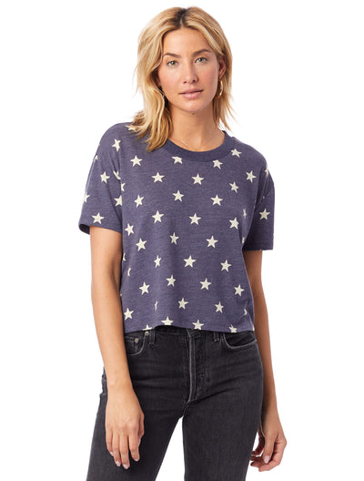 Eco Jersey Cropped T-Shirt Stars Headliner Tee