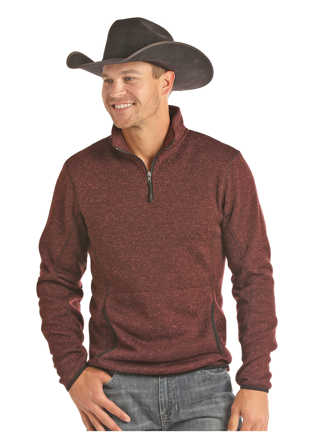 Panhandle Burgundy Men's Quarter Zip Pullover