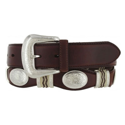 Tony Lama Cutting Champ Scallop Western Leather Mans Belt Brown with Concho, Men's Belt, Tony Lama Boot Co. - Lazy J Ranch Wear