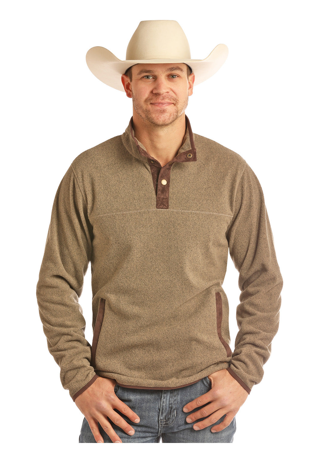 Panhandle Tan Two Snap Fleece Men's Pullover