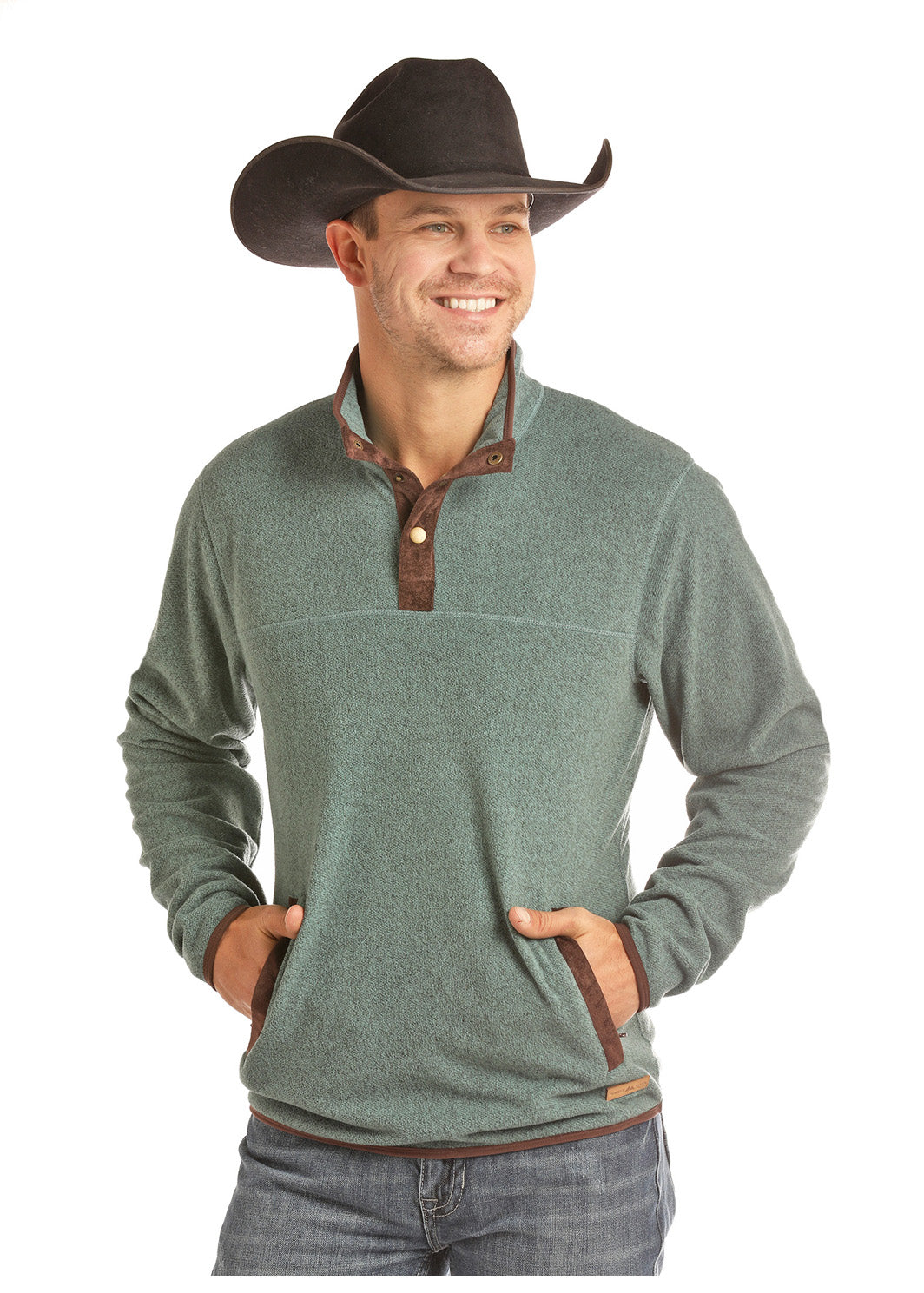 Panhandle Teal Two Snap Fleece Men's Pullover