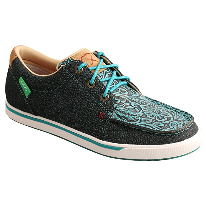 Twisted X Tooled Blue Women's Hooey Shoe - Teal