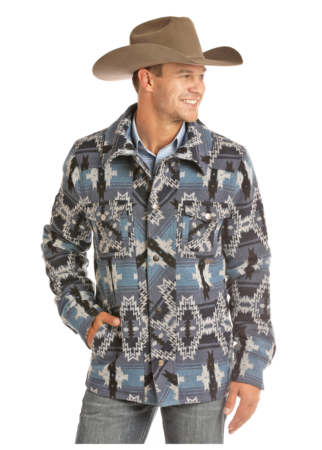 Panhandle Blue Aztec Commander Men's Wool Coat