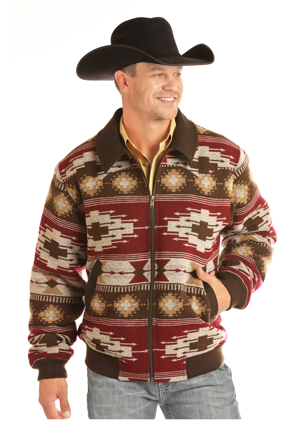 Panhandle Brown Aztec Men's Bomber Jacket