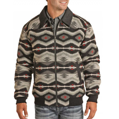 Powder River Outfitters Men's Aztec Jacquard Bomber Jacket