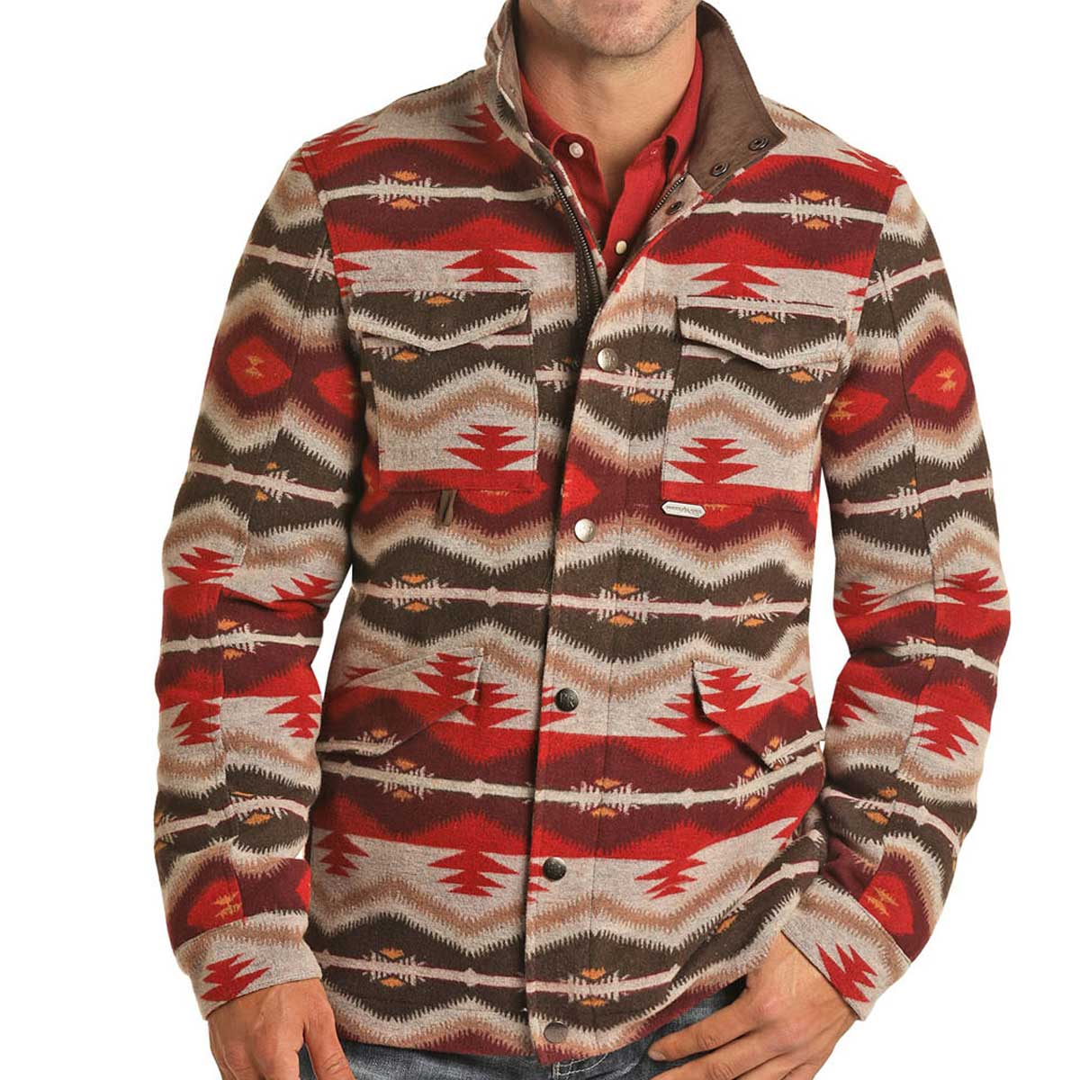 Panhandle Men's Aztec Jacquard Jacket - Red & Tan