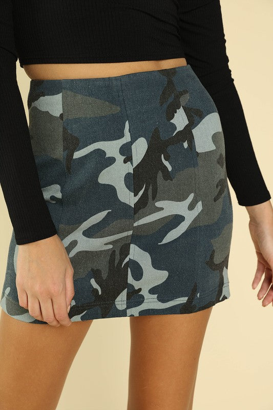 Wild Honey Blue Camo High Waist Women's Mini Skirt