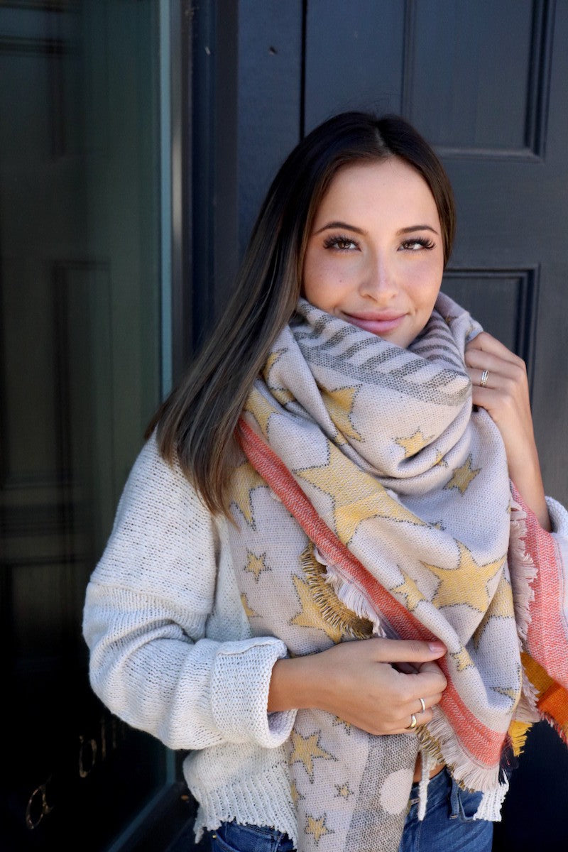 Star Pattern Blanket Scarf