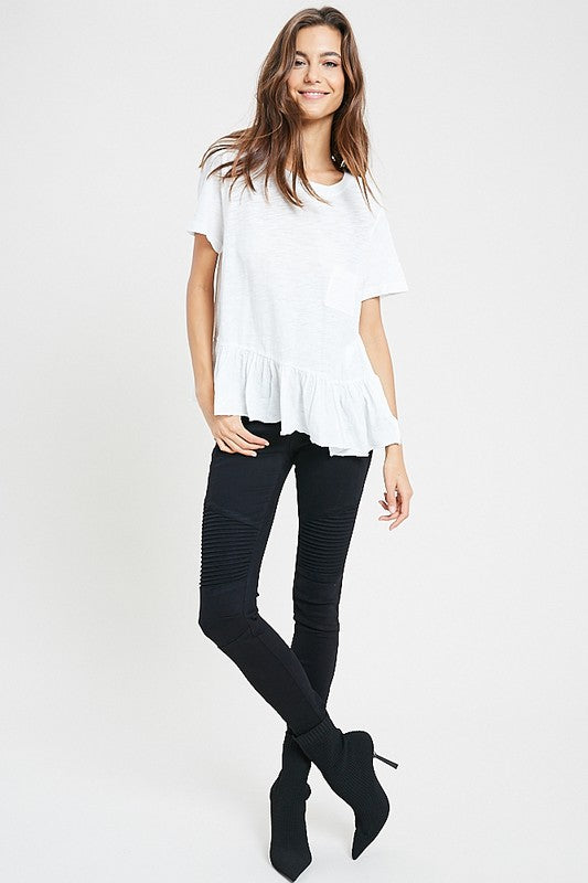 Women's White Pocket Ruffle Tee