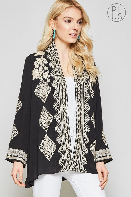 Women's Plus Size Black Embroidered Kimono