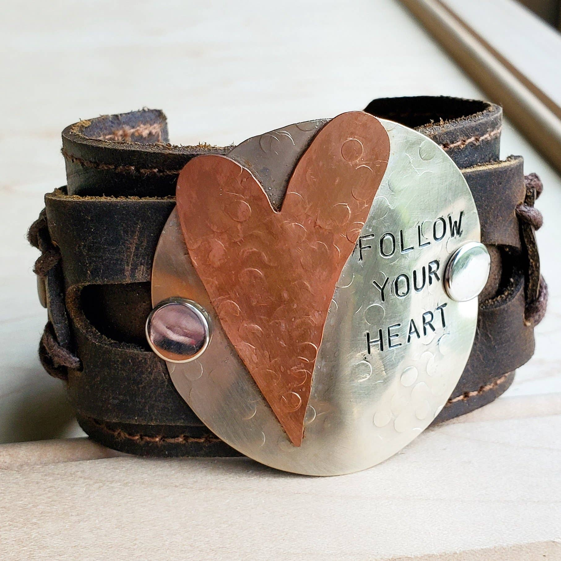 Follow Your Heart Leather Cuff Bracelet 004e