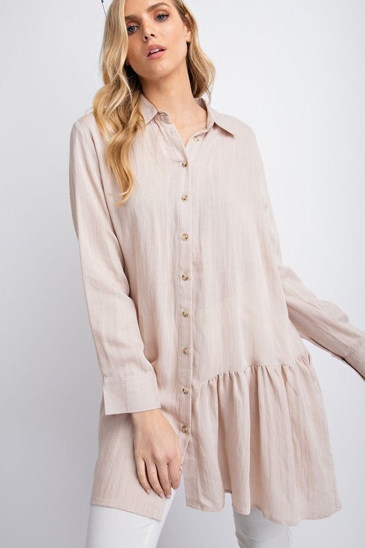 Naked Tan Button Down Ruffle Tunic