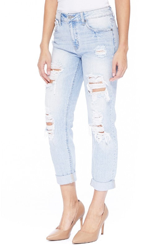 Frankie Low Rise Girlfriend Light Wash Ripped Jeans