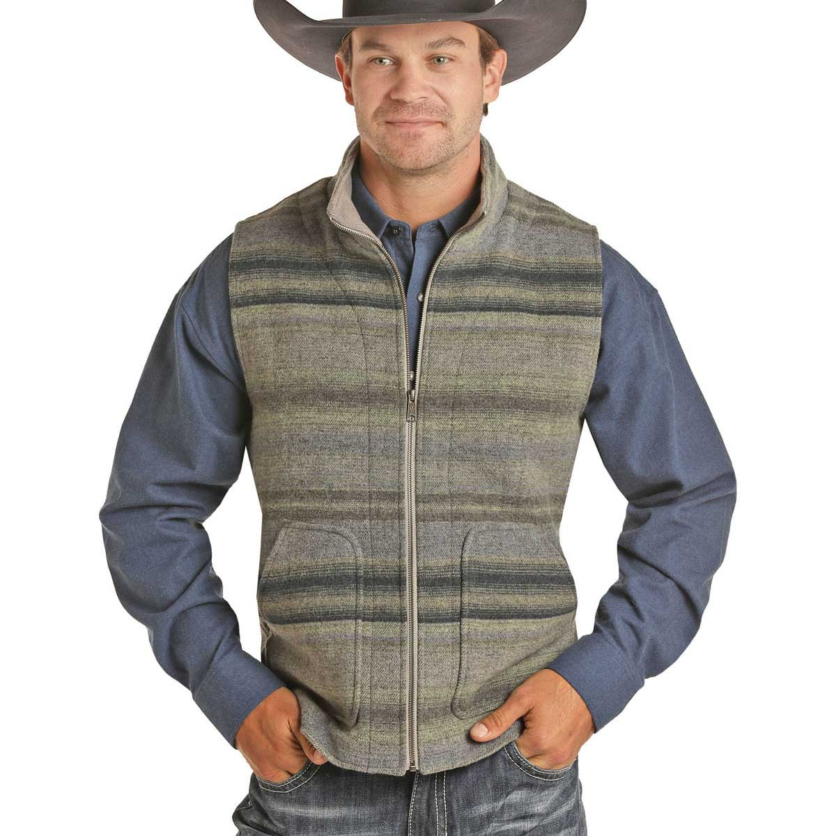 Powder River Outfitters Men's Blue Gray Striped Serape Vest
