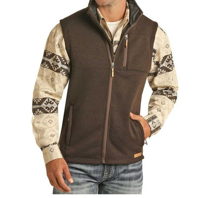 Powder River Outfitters Men's Rib Knit Sweater Vest - Brown