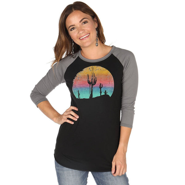 Rock & Roll Cowgirl Cactus Graphic Baseball Tee