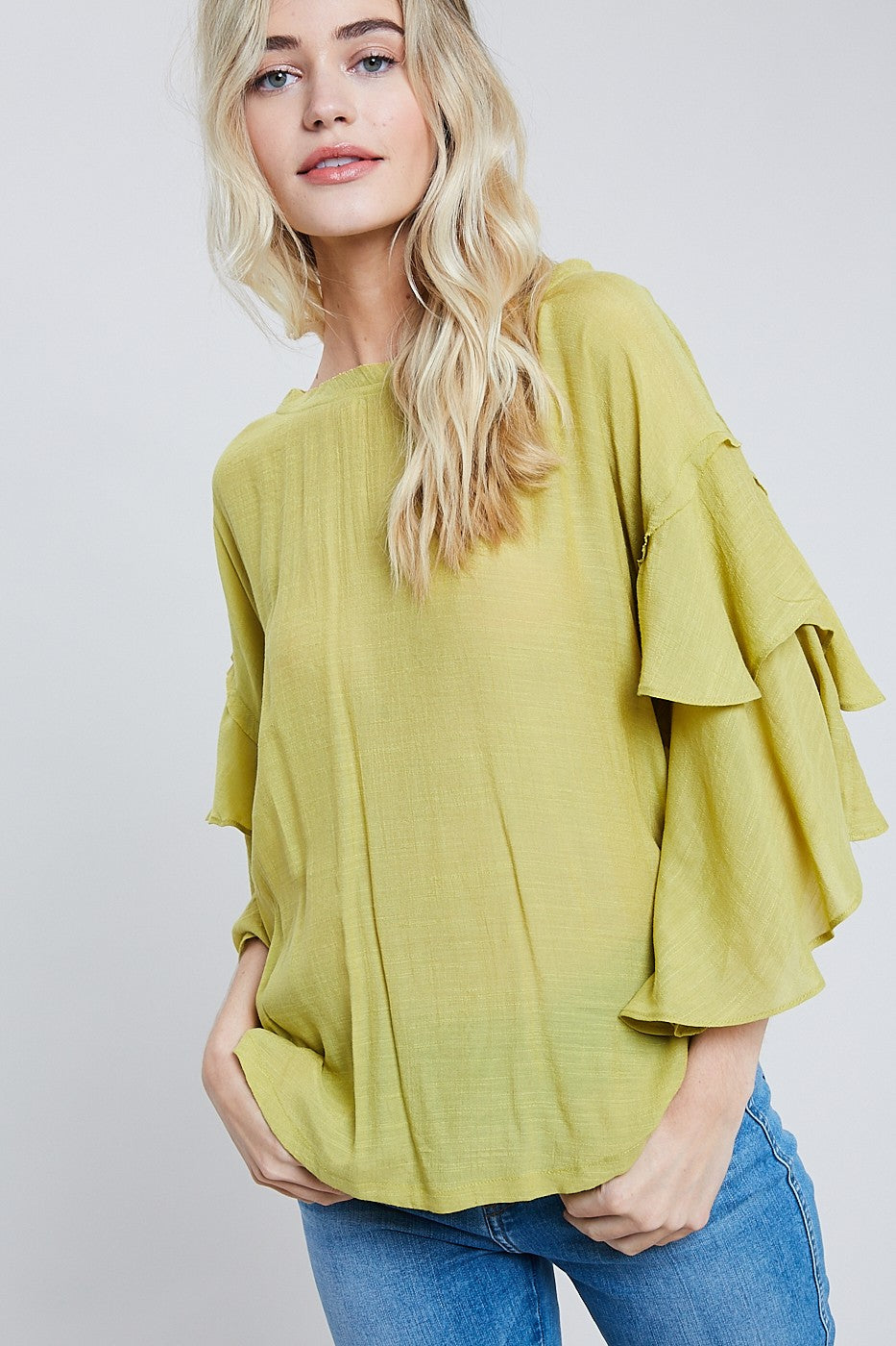 Wishlist Lime Ruffled Sleeve Women's Blouse