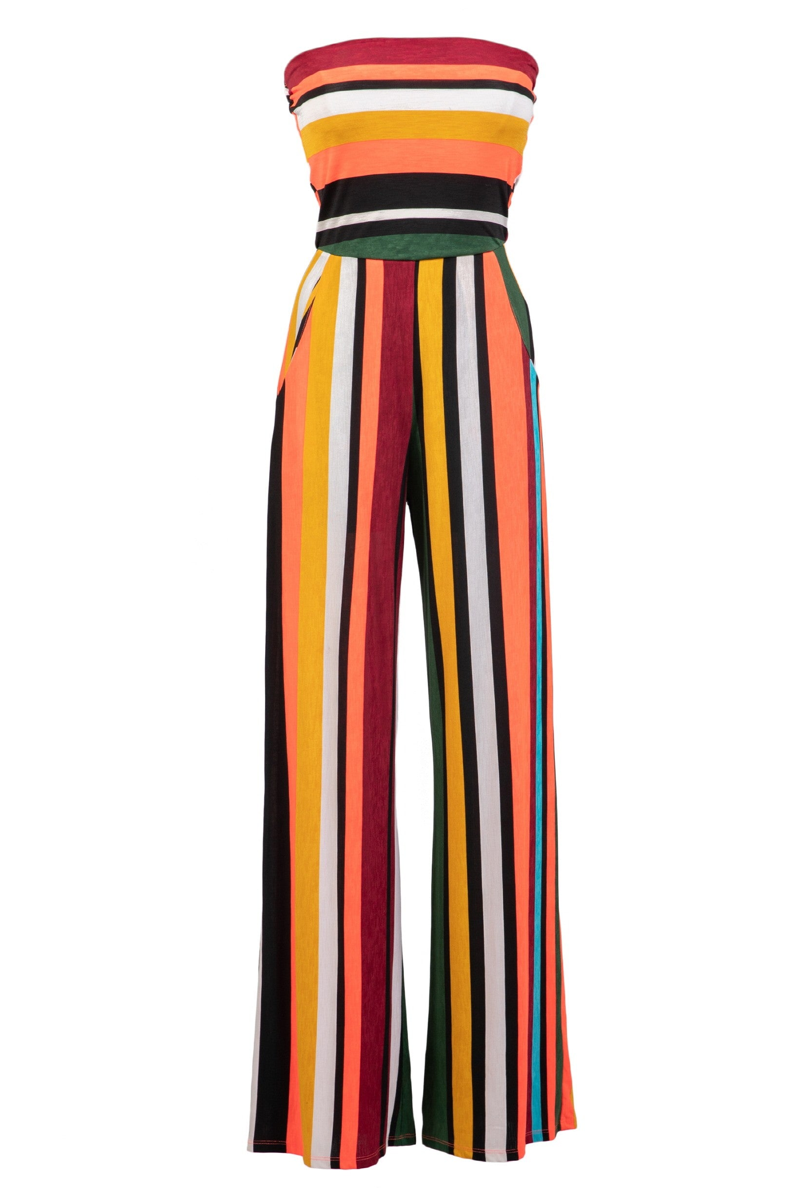 Women's Strapless Striped Serape Jumper