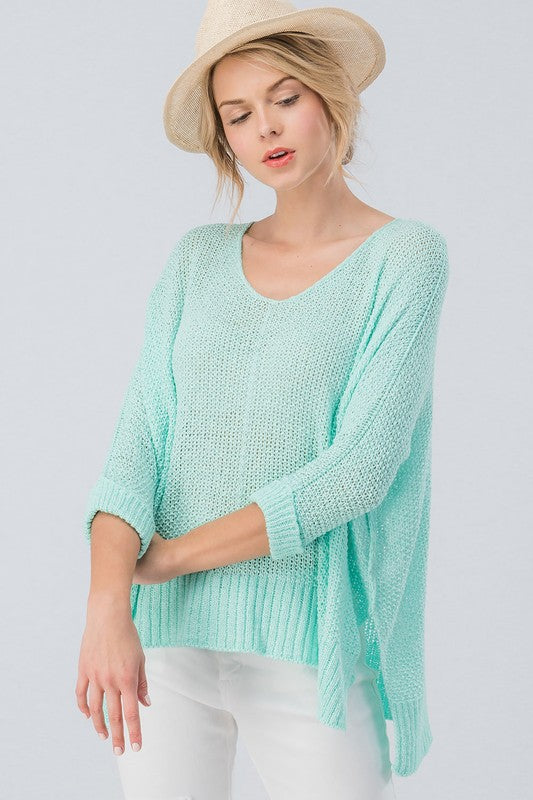 Mint Dolman Sleeve Knit Top